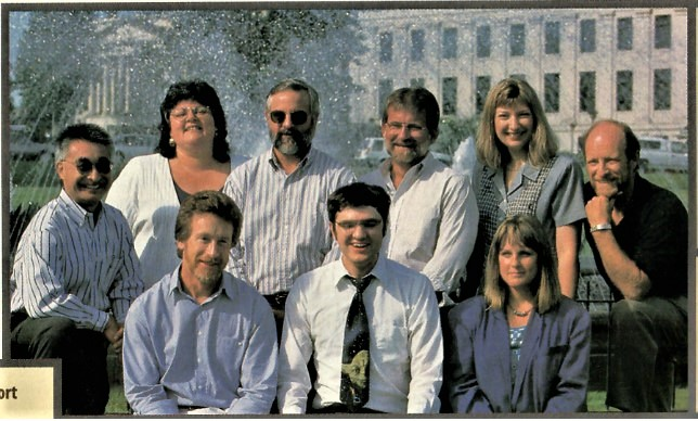 Data Warehouse Team 1997</br>(front row)Doug, Rob, Billy, Connie.</br>(backrow)Jacqui, Gary, Jerry, Alice, Warren</br>Info World 9/1997 selected the DW Project #8 in the nation for use of technology in government.